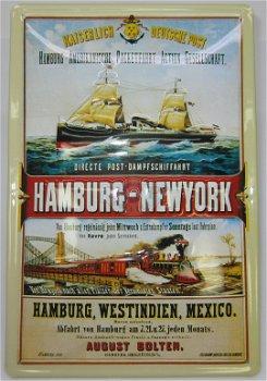Blechschild:Hamburg - New YorkKaiserlich Deutsche Post(20 x 30 cm)