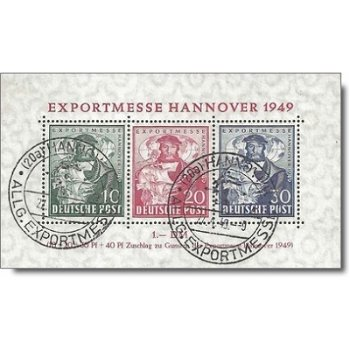 Export fair Hanover 1949 - stamp block canceled, catalog no. 103-105 Bl. 1a, Allied Bese
