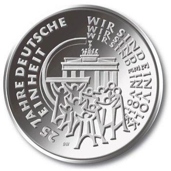 25 Euro Münze im Blister, 25 Jahre Deutsche Einheit, Polierte Platte, Deutschland 2015