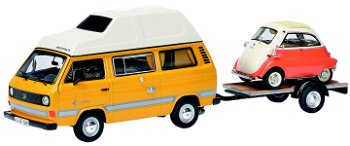 Modellauto:VW T3 - Joker - Campingbus mit Anhänger und BMW Isetta(Schuco, 1:43)