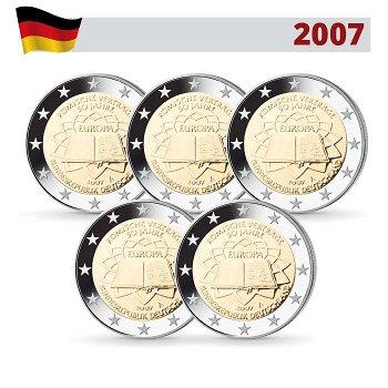2 Euro Münze 2007, 50 Jahre Römische Verträge, Deutschland, 5 Prägezeichen