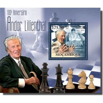 Schach/Andor Lilienthal - Briefmarken-Block, Mocambique