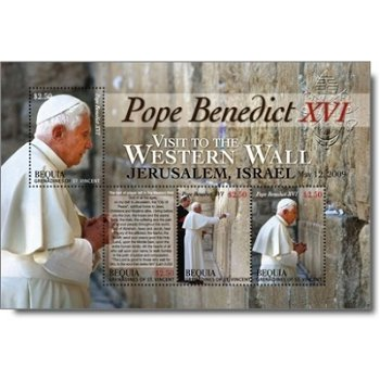 Papst Benedikt XVI. besucht Israel - Briefmarken-Block postfrisch, St. Vincent und Grenadinen