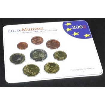 Kursmünzensatz 2002 im Folder, Stempelglanz (mit allen Prägestätten), Deutschland