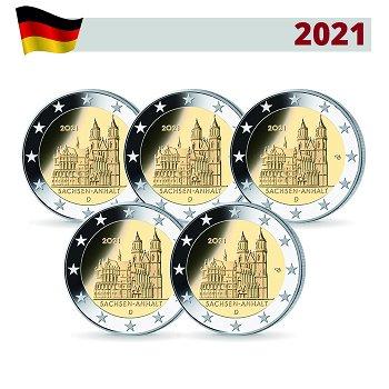 Sachsen Anhalt: Magdeburger Dom - 2 Euro Gedenkmünze 2021, 5 Prägezeichen, Deutschland