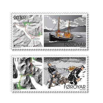 Europa2020: Historische Postwege - 2 Briefmarken postfrisch, Färöer