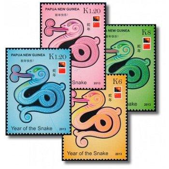 Chinesisches Neujahr: Jahr der Schlange - 4 Briefmarken postfrisch, Katalog-Nr. 1828-1831, Papua-Neu