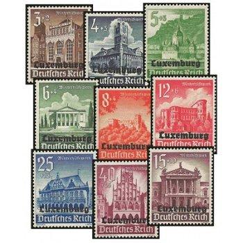 Die Bautenserie - 9 Briefmarken postfrisch, Katalog-Nr. 33-41, Deutsche Besetzung Luxemburg