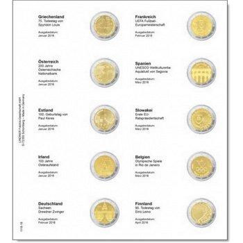 Lindner Vordruckblatt inkl. Münzblatt für 2 Euro-Gedenkmünzen: Griechenland Januar 2016 bis Finnland