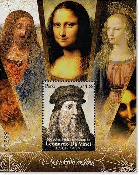 500. Todestag Leonard da Vinci - Briefmarken-Block postfrisch, Peru
