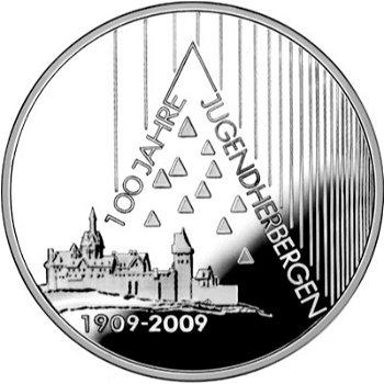 100 Jahre Jugendherbergen, 10-Euro-Silbermünze 2009, Stempelglanz