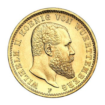 20 Mark Goldmünze, König Wilhelm II., Königreich Württemberg, Katalog-Nr. 296