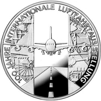 100 years of the International Aviation Exhibition, 10 Euro silver coin 2009, Proof