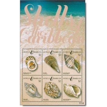 Muscheln - Briefmarken-Block postfrisch, Antigua-Barbuda
