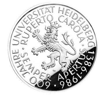 """5-DM-Münze """"600jähriges Bestehen der Universität Heidelberg"""", Polierte Platte"""
