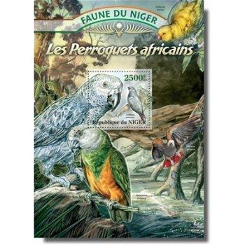 Papageien - Briefmarken-Block postfrisch, Niger