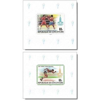 Olympische Sommerspiel 1980, Moskau - 5 Luxusblocks postfrisch, Katalog-Nr. 614B-618B, Elfenbeinküst