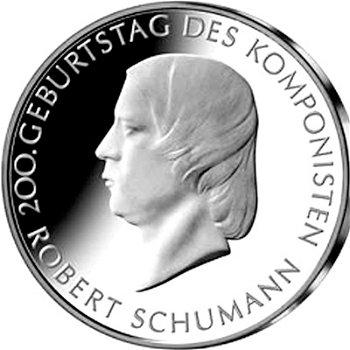 200. Geburtstag Robert Schumann, 10-Euro-Silbermünze 2010, Polierte Platte