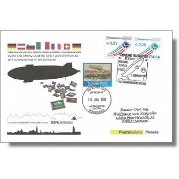 Zeppelin NT, Rückflug Forschungsmission - Beleg, Italien