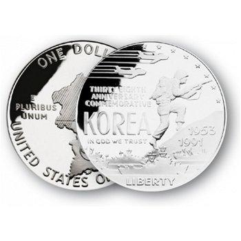 Korea Krieg - Silberdollar 1991, 1 Dollar Silbermünze, USA