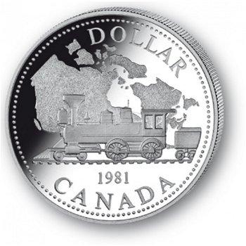Eisenbahn - Silberdollar 1981, 1 Dollar Silbermünze, Canada