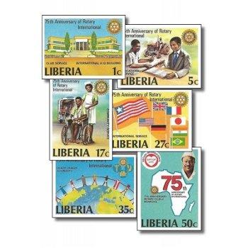 75 Jahre Rotary International – Briefmarken postfrisch, ungezähnt, Katalog-Nr. 1161 B-1166 B, Liberi