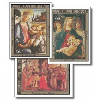 Weihnachten - 3 Briefmarken ungezähnt postfrisch, Katalog-Nr. 872-874, Niger