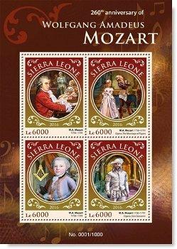 Komponisten: Wolfgang Amadeus Mozart - 4 Briefmarken postfrisch, Sierra Leone
