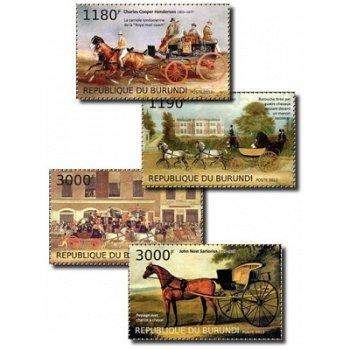 Pferdekutschen - 4 Briefmarken postfrisch, Burundi