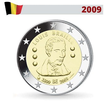 200. Geburtstg Louis Braille, 2 Euro Münze 2009, Belgien