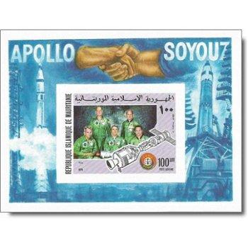 Amerikanisch-sowjetisches Raumfahrtunternehmen Apollo-Sojus - Briefmarken-Block ungezähnt postfrisch