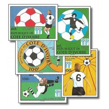 Fußball-Weltmeisterschaft 1978, Argentinien - 5 Briefmarken ungezähnt postfrisch, Katalog-Nr. 552B-5