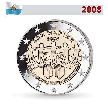 2 Euro Münze 2008, Interkultureller Dialog, San Marino