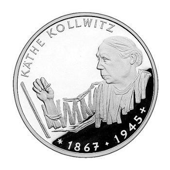"10-DM-Silbermünze ""125. Geburtstag Käthe Kollwitz"", Polierte Platte"