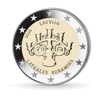 Lettgallische Keramik - 2 Euro Münze 2020, Lettland