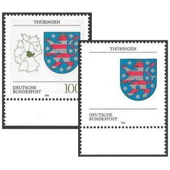 Wappen der Länder der Bundesrepublik Deutschland, Briefmarke postfrisch, Abart Thüringen, Katalog-Nr