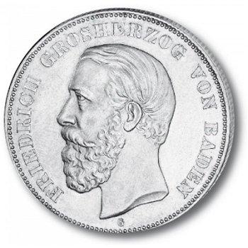 2 Mark Silbermünze, Großherzog Friedrich I., Katalog-Nr. 26, Großherzogtum Baden