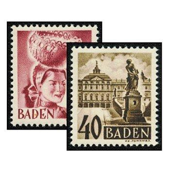 3. Freimarkenserie Baden - 10 Briefmarken postfrisch, Katalog-Nr. 28-37, Französische Zone Baden