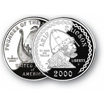 Entdeckungsreisen Leif Eriksson - Silberdollar 2000, 1 Dollar Silbermünze, USA