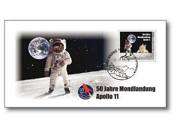 50 Jahre Mondlandung - Ersttagsbrief mit Titan-Briefmarke Eagle, Liechtenstein