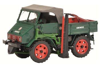 Modellauto:MB Unimog 2010 mit Messerbalken, grün(Schuco/PRO.R32, 1:32)