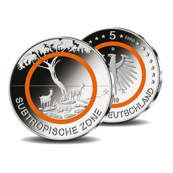 Subtropische Zone, 5 Euro Bimetall 2018, Stempelglanz, Deutschland