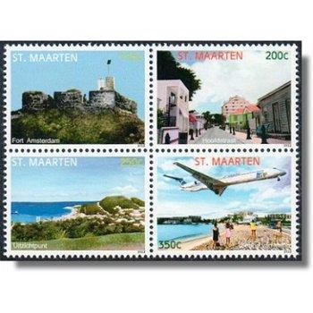 Sehenswürdigkeiten - 4 Briefmarken im Zusammendruck, Sint Maarten