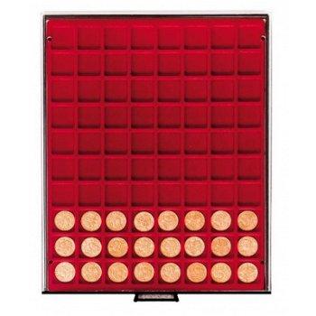 LINDNER Münzenbox, quadratische Vertiefungen 24mm, LI 2780, Rauchglas