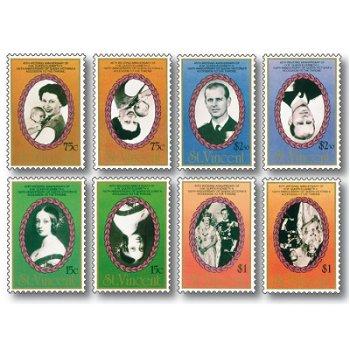 Die 'kopfstehende' Königin, Abart - 8 Briefmarken postfrisch, St. Vincent