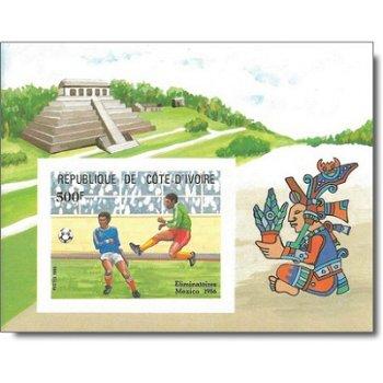 Ausscheidungsspiele zur Fußball-WM 1986, Mexiko - Block ungezähnt postfrisch, Elfenbeinküste