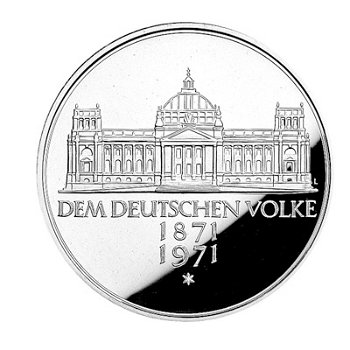 """5-DM-Silbermünze """"100. Jahrestag Reichsgründung"""", Polierte Platte"""