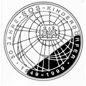 "10-DM-Silbermünze ""50 Jahre SOS-Kinderdörfer"", Polierte Platte"