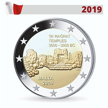Prähistorische Stätten: Ta' Hagrat, 2 Euro Münze 2019, Malta