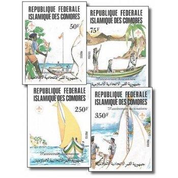 75 Jahre Pfadfinderbewegung – Briefmarken postfrisch, ungezähnt, Katalog-Nr. 652-655, Komoren